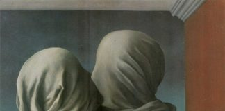 "Rene Magrit-Ljubavnici, ""[ M ] René Magritte - Les amants (The lovers) (1928)"" flickr photo by Cea. https://flickr.com/photos/centralasian/6601890983 shared under a Creative Commons (BY) license"