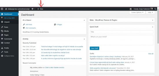 wordpress uputstvo