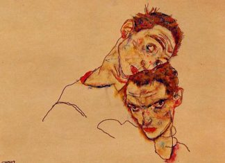 Egon Šile – dvostruki autoportret 1915, By Egon Schiele - repro from art book, Public Domain, https://commons.wikimedia.org/w/index.php?curid=6939751